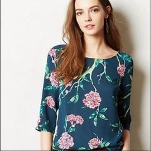 HD in Paris Anthropologie green pink floral blouse